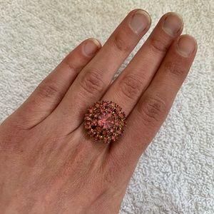 Vintage costume ring pink gemstone rosette